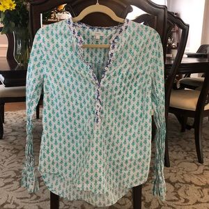 J crew blue and white tunic; size 12